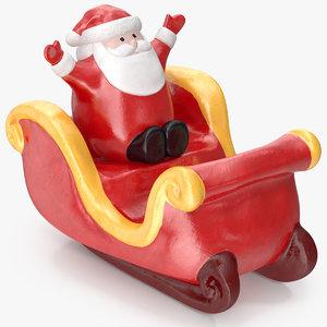 3D model santa claus sleigh decorative