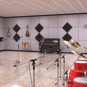 guitar drums music 3D model