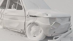 3D model car fiat 126p abandoned