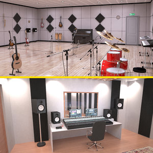 3D music practice room studio model