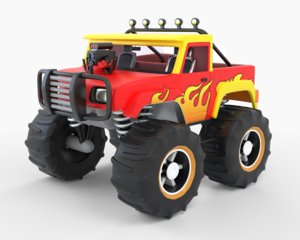 3D toy monster road truck