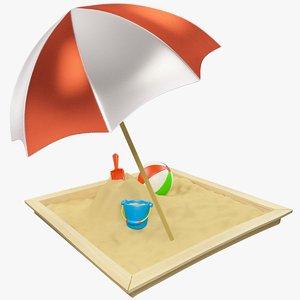 3D set sandbox sand model