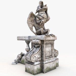3D gargoyle statue massandra model