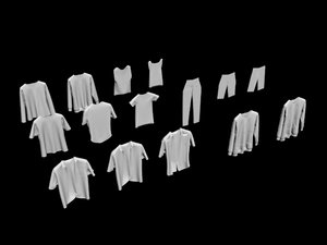 30 hanged clothes sock 3D
