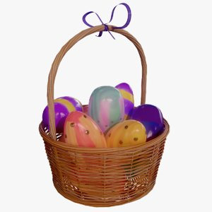 realistic easter basket 3D model