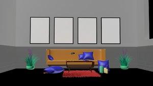 3D model living room interior design