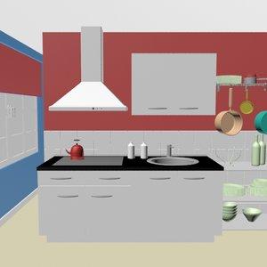 kitchen room interior design 3D