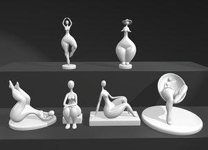 modern sculpture lady 3D model