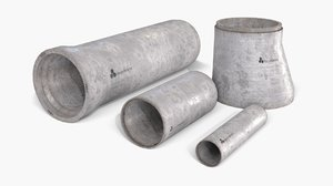 3D asset concrete pipes set model