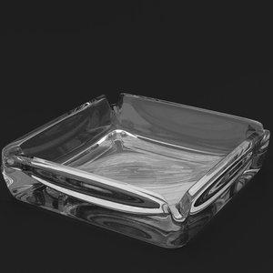 square glass ashtray 3D model