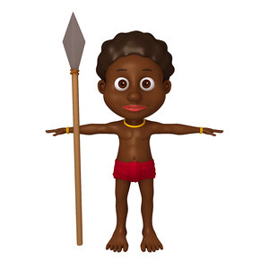 3D tribal warrior cartoon model