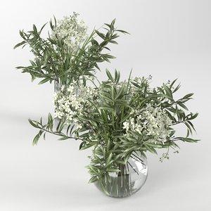 bouquet hydrangea olive branch 3D model