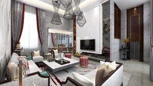 3D interior living dining rooms