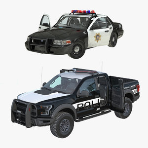 3D police cars rigged model