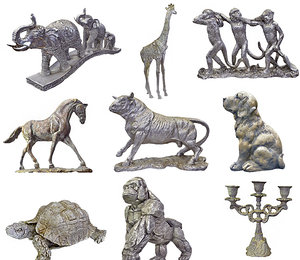 3D model stone animals sculptures hd