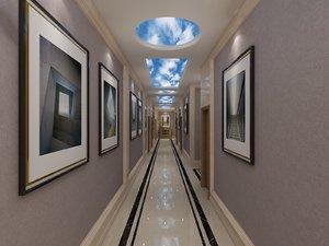 3D hotel aisle pictures doors