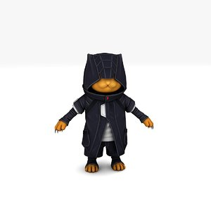 3D devil cyber cat rigged model