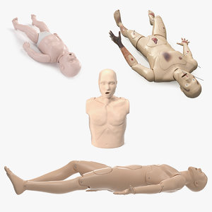 aid training manikins 2 3D model
