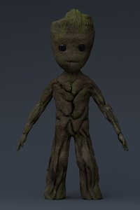 3D groot marvel characters