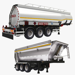 oil tank semi dumper 3D model