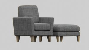 furniture sofa ottoman 3D model