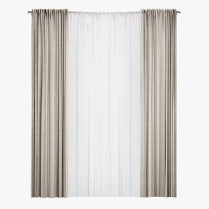 3D model straight curtains