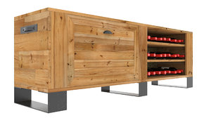 3D wooden tv stand wine rack