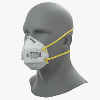 N95 Flat Fold Respirator Mask with Male Mannequin