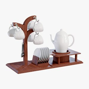 3D model coffee set
