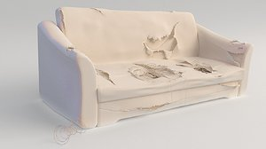 old abandoned sofa 3D