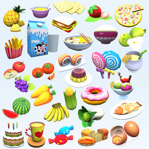 cartoon stylized food complete 3D model