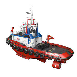3D tugboat boat harbor model