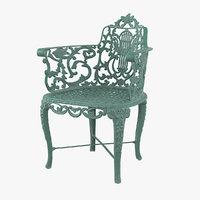 Antique Vintage Victorian Cast Iron Rose Garden Chair