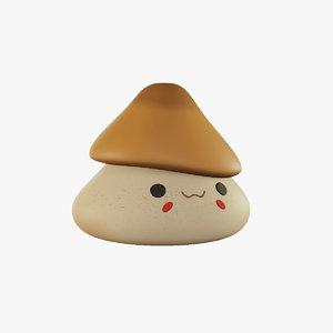 3D mushroom cartoony character