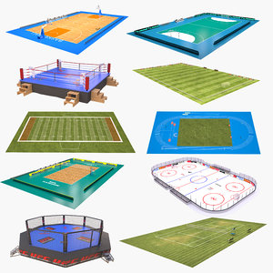 3D sport fields ice hockey model