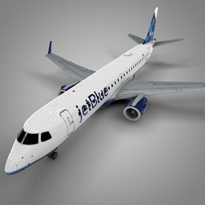 3D jetblue embraer190 l628 model