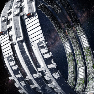 sci-fi space colony 3D