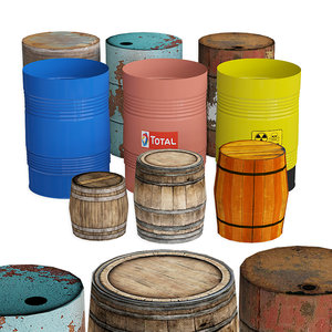 3D barrel industrial container model