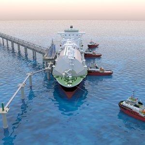 mooring tanker ship berth 3D