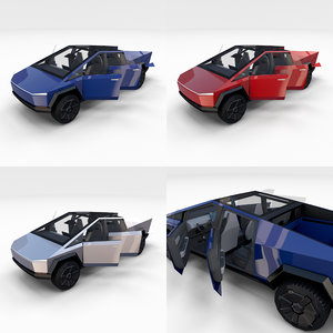 3D tesla cybertruck interior pack model
