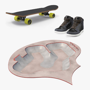 3D skateboarding equipment skate boarding model