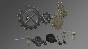 3D gears levers mechanisms