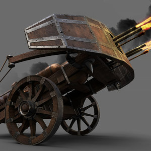 3D medieval flamethrower ballista