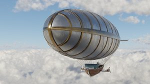 steampunk airship steam engine 3D model