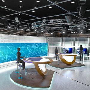 sets tv studio 3D