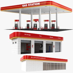 3D real gas station buildings