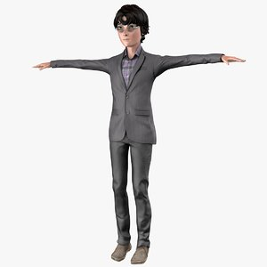 3D male teenager rigged