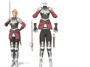 3D female knights armour suit