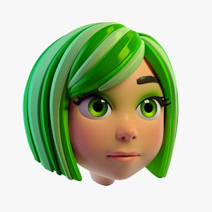 3D lovely cartoon girls head model