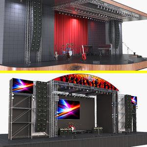 concert stages 2 scene 3D model
